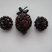 "Vintage Warner Cherries Strawberry ""DEEP RED""  Rhinestone  SET Pin Brooch  Earrings"