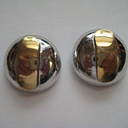 "Vintage Lanvin Paris Domed ""BIG"" Gold Plated Earrings Designer Fabulous"