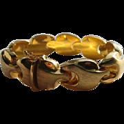 Vintage Italy Bracelet Sterling Vermeil Satin Finish Links Designer Signed