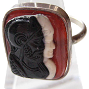 Vintage Victorian Ring Sterling Silver Double Cameo Carved Size 3-1/2
