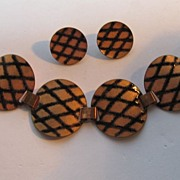 Vintage Copper  Modern Enamel Black Gold Tone Bracelet Earrings Set