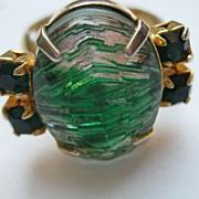 """Vintage Ring """"HUGE"""" Green Carved Glass Rhinestone Adjustable"""