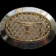 Vintage Cowboy Long Horn Steer Belt Buckle Gold Plated Lattice Chrome LARGE