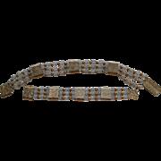 Vintage Napier Floral Slide Cut Crystal  Beads Gold Tone Necklace Bracelet Set