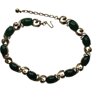 Vintage Trifari Necklace Emerald Green Faux Jade Cabochon Jelly Belly Moonstone Trifarium