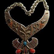 Vintage Cleopatra King TuT MASSIVE BIB  Enamel Scarab Dangle Necklace Carnegie Style