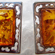 Modernist Amber and Sterling Silver Pierced Earrings ca 1960s