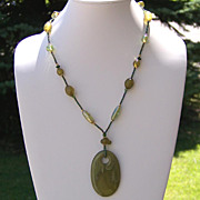 Monochromatic Green Bead Necklace 47 inches