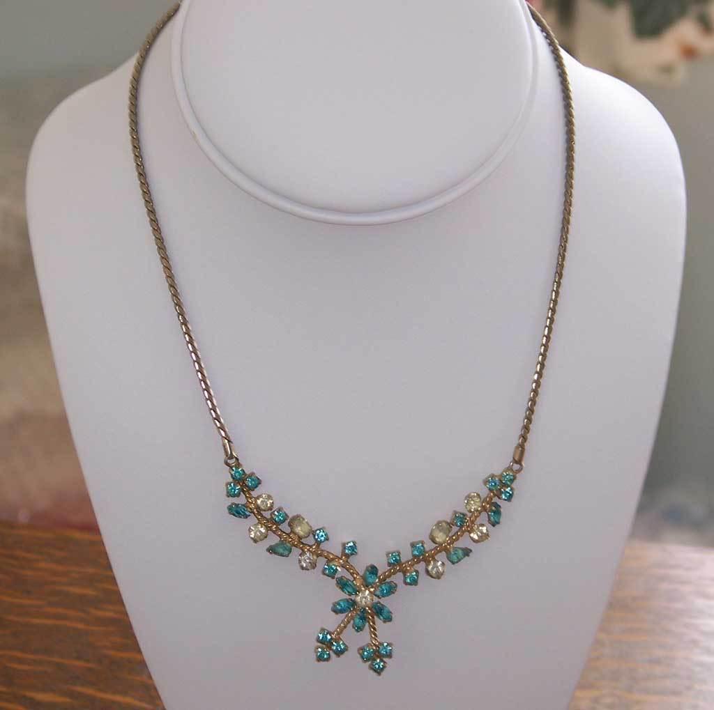 Aquamarine and White Rhinestone Pendant Necklace Goldtone 1950s