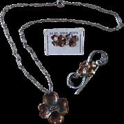 SALE Nye Dogwood Parure Sterling Copper Gold  Valentine Gift