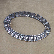 Antique Sterling Silver Brass Oval Sash Pin Brooch