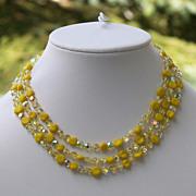 Vintage Yellow AB Art Glass Bead 3 Strand Necklace Aurora Borealis