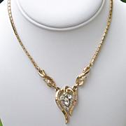Trifari Alfred Phillippe Goldtone Rhinestone Necklace Book Piece 1953  Valentine Gift