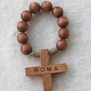 Vintage Olivewood Single Decade Finger Rosary Bead Set
