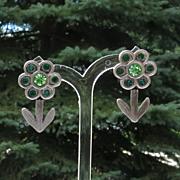Vintage Agatha Paris Pewter Tone Articulated Flower Pierced Earrings