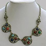 Vintage Openwork Silvertone Faux Stone Choker Necklace 1950's