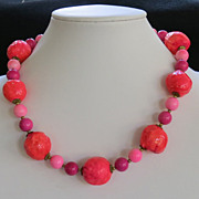 Vintage Neon Hot Pink Orange Paper Mache Bead Necklace Mod