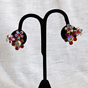 Red Aurora Borealis AB Goldtone Clip Earrings Austria
