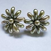 Pearlized Satin Earrings Faux Pearls Screw Back Vintage