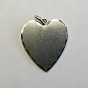 Sterling Silver Wells Heart Charm Fancy Edge Valentine Gift