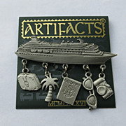 Jonette Cruise Ship Pin Brooch 5 Figural Charms Original Card