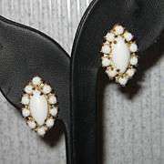 Vintage Milk Glass Cabochon Goldtone Screw Back Earrings