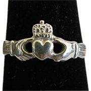 SALE Sterling Silver Claddagh Ring Size 5 Valentine Gift