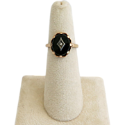 SALE 10K Gold Onyx Diamond Ring Size 6 Yellow Gold  Valentine Gift