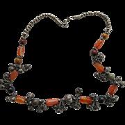 Vintage Silver Tone Art Glass Boho Necklace Bells Bohemian Fun