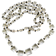 Art Deco Glass Knotted Graduated Cube Necklace 36 inches Beveled Edges