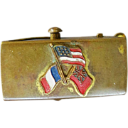American Revolution Reenactment Buckle Brass France USA American Insurgent Flags