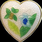 SALE Vintage Figural Heart Enamel Pin Daffodils Valentine Gift