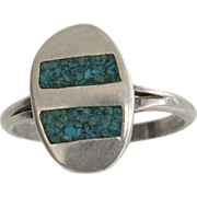 Sterling Silver Modernist Turquoise Ring Mexico EV Eagle 2 925 Size 7