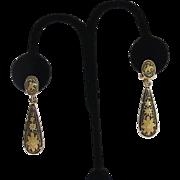 """Vintage Damascene Drop Earrings Sunflowers Birds  Clip Style  2"""""""