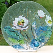 Controlled Bubble Textured Fused Art Glass Floral Plate with Gilt Accents