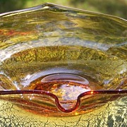 Golden Amber Crackle Glass Cigar or Pipe Ashtray