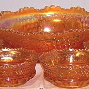 7-pc Northwood Grape and Cable Marigold Carnival Glass Berry Set