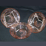 3 Pink Depression Glass Sharon Flat Rim Soup Bowls