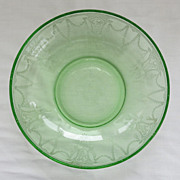 Green Depression Glass Cameo Ballerina Large Berry Bowl Hocking Glass 2 available