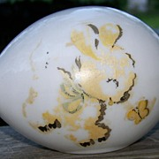 Hand Painted Blown Glass Figural Easter Egg - Bunny and Butterfly