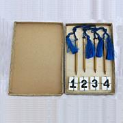 Vintage Bridge Game Pencils Table Numbers Original Box