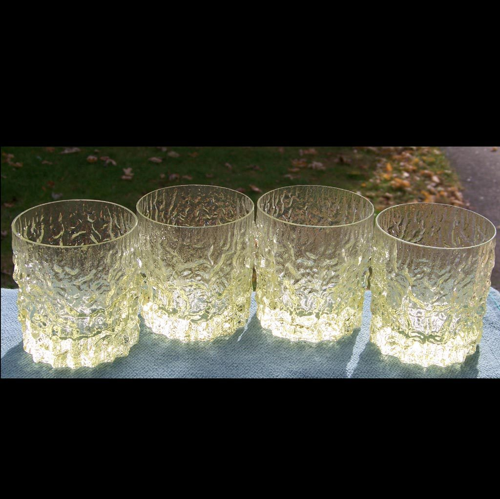 4 Yellow Crinkle Ice Bark Old Fashioned Tumblers 10 ounce Modernist