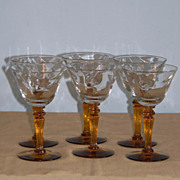6 Tiffin 15071 Optic Cordial Liqueur Goblets Amber Stems