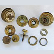 Vintage Door Hardware 11 Piece Assortment Brass Rosettes Locks More