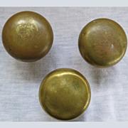 3 Round Brass Vintage Doorknobs Wonderful Patina