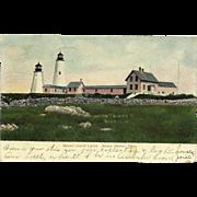 Bakers Island Lights Postcard Salem Harbor Mass Lighthouse