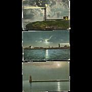 3 Moonlight Lighthouse Postcards Massachusetts Vermont Antique Marblehead Boston Lake Champlai