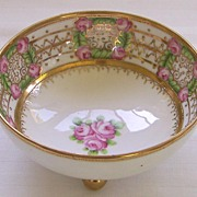 Antique RC Nippon Gilt Beaded Roses Footed Bowl circa 1911