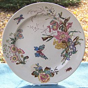 Forester and Sons Staffordshire Aesthetic Polychrome Transferware Butterfly Plate