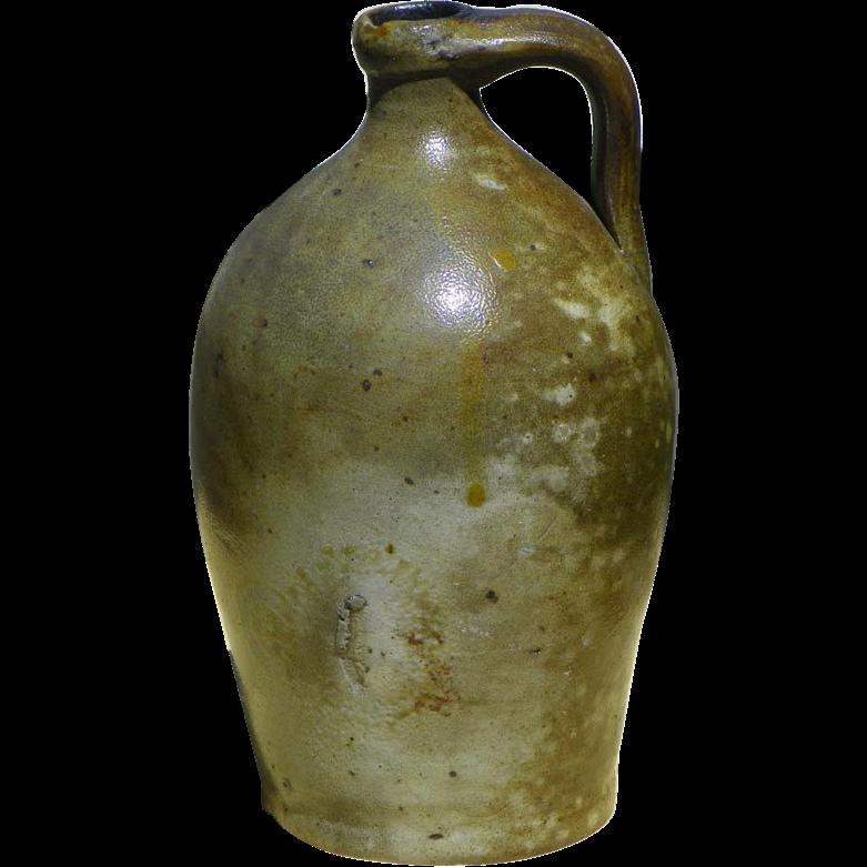 Antique Semi Ovoid 1 Quart Salt Glaze Stoneware Jug 1850 HTF Size